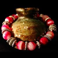 Armband Natural Agat Pink Metal Pearls