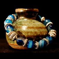 Armband Natural Agat Blue Pearls