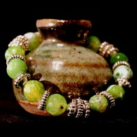 Armband Natural Fire Agat Green Pearls