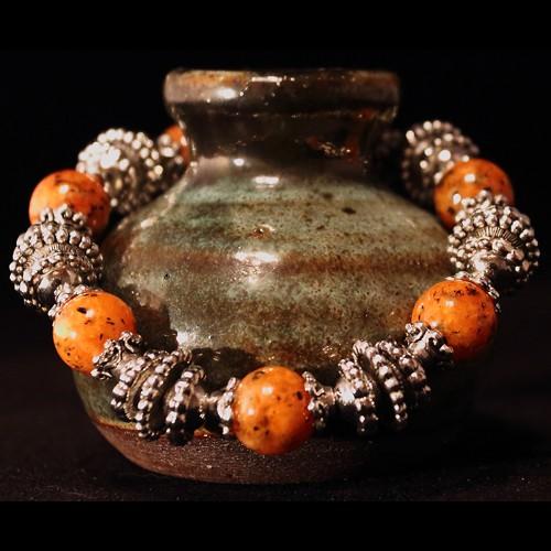 Armband Rainbow Veins Orange Pearls