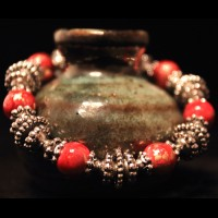 Armband Turqouise Red Pearls