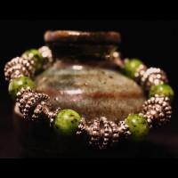 Armband Rainbow Veins Green Pearls