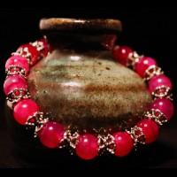 Armband Natural Dragonveins Agat Pink  Pearls