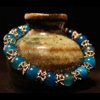Armband Natural Dragonveins Agat Blue Pearls